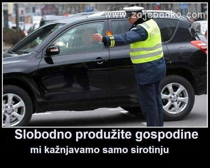 policija zaustavlja sirotinju