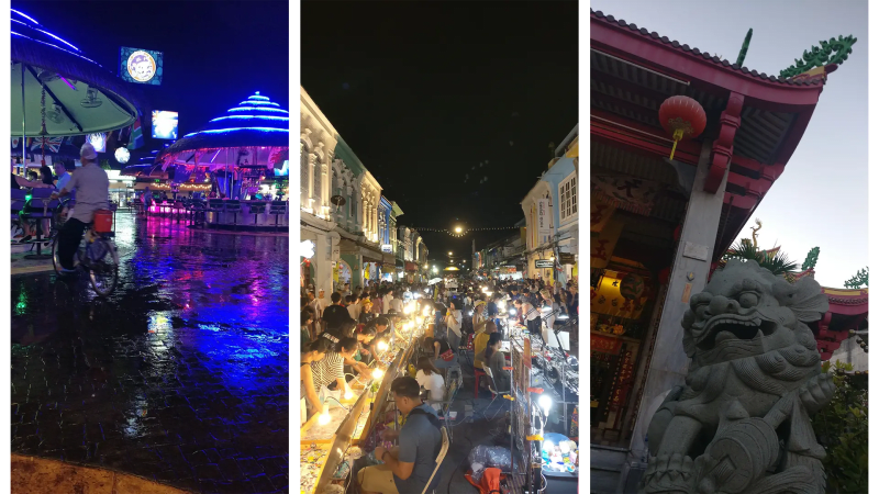 Party clubs in Patong, Old Town Phuket market and chinese guard lion in Put Cho Shrine