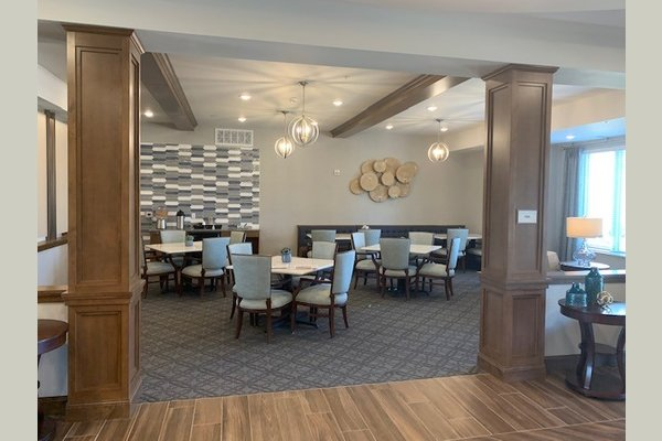 The perk area offers coffee and fruit-infused water throughout the day. A great space for residents to gather to read the newspaper, work on a puzzle or just socialize.