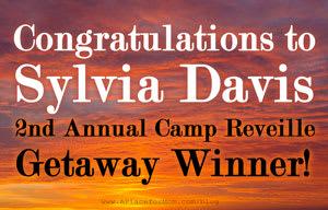Congratulations to Sylvia Davis 2nd Annual Camp Reveille Getaway Winner