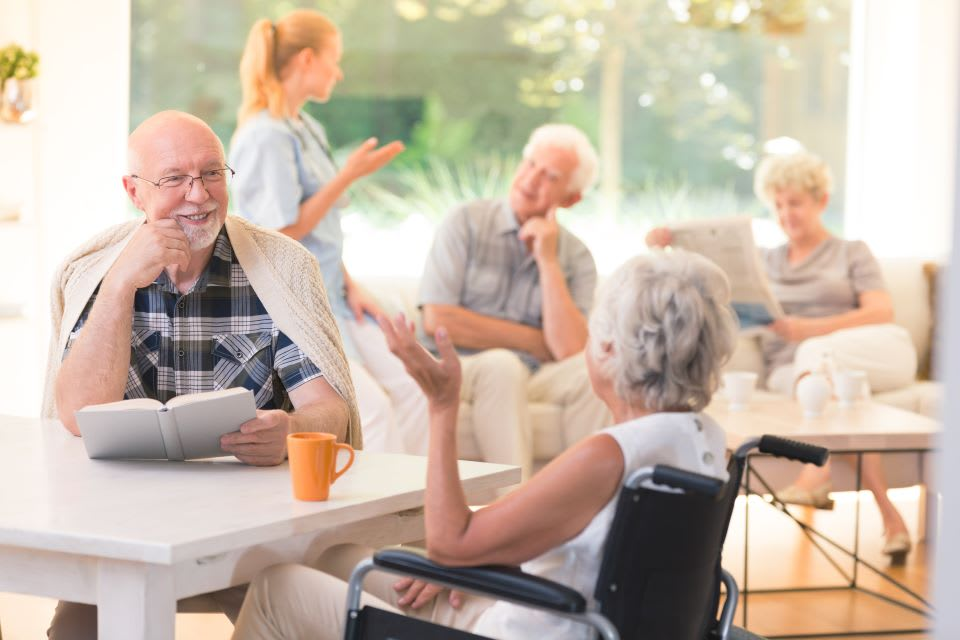 A group of seniors chat around the table in front of a sunny window.