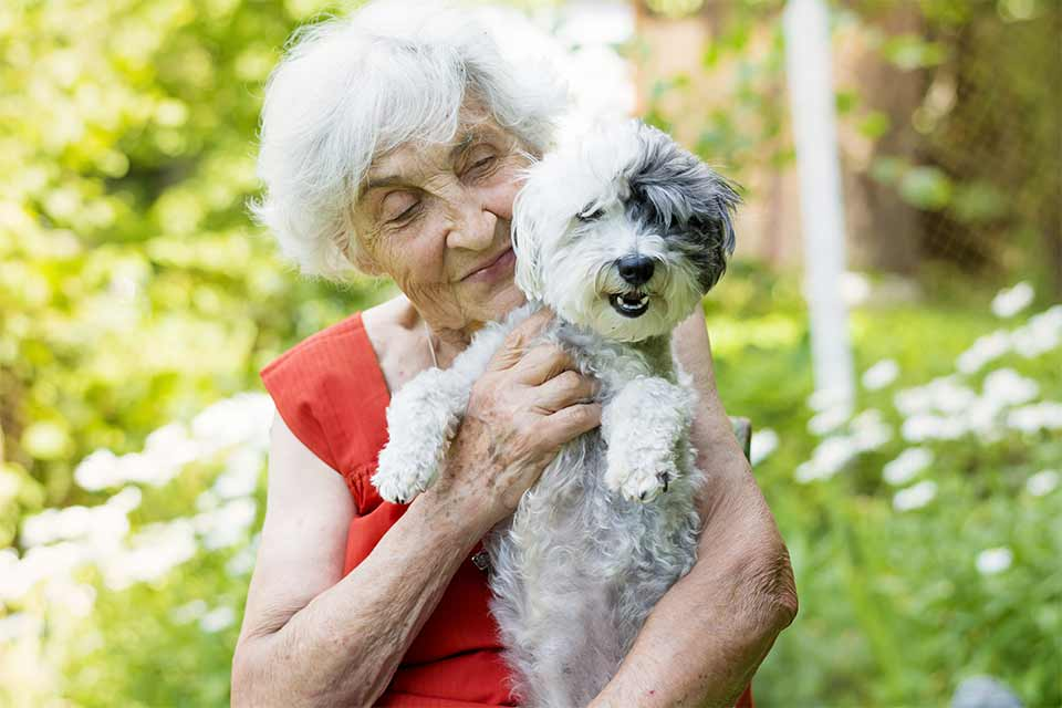 Elderly woman holding her dog while outdoors.