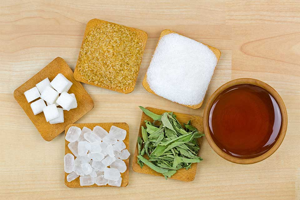 Small samples of several different healthy sugar alternatives
