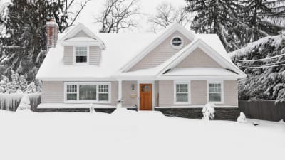 A home in the winter, safe after owners used a winter home prep list