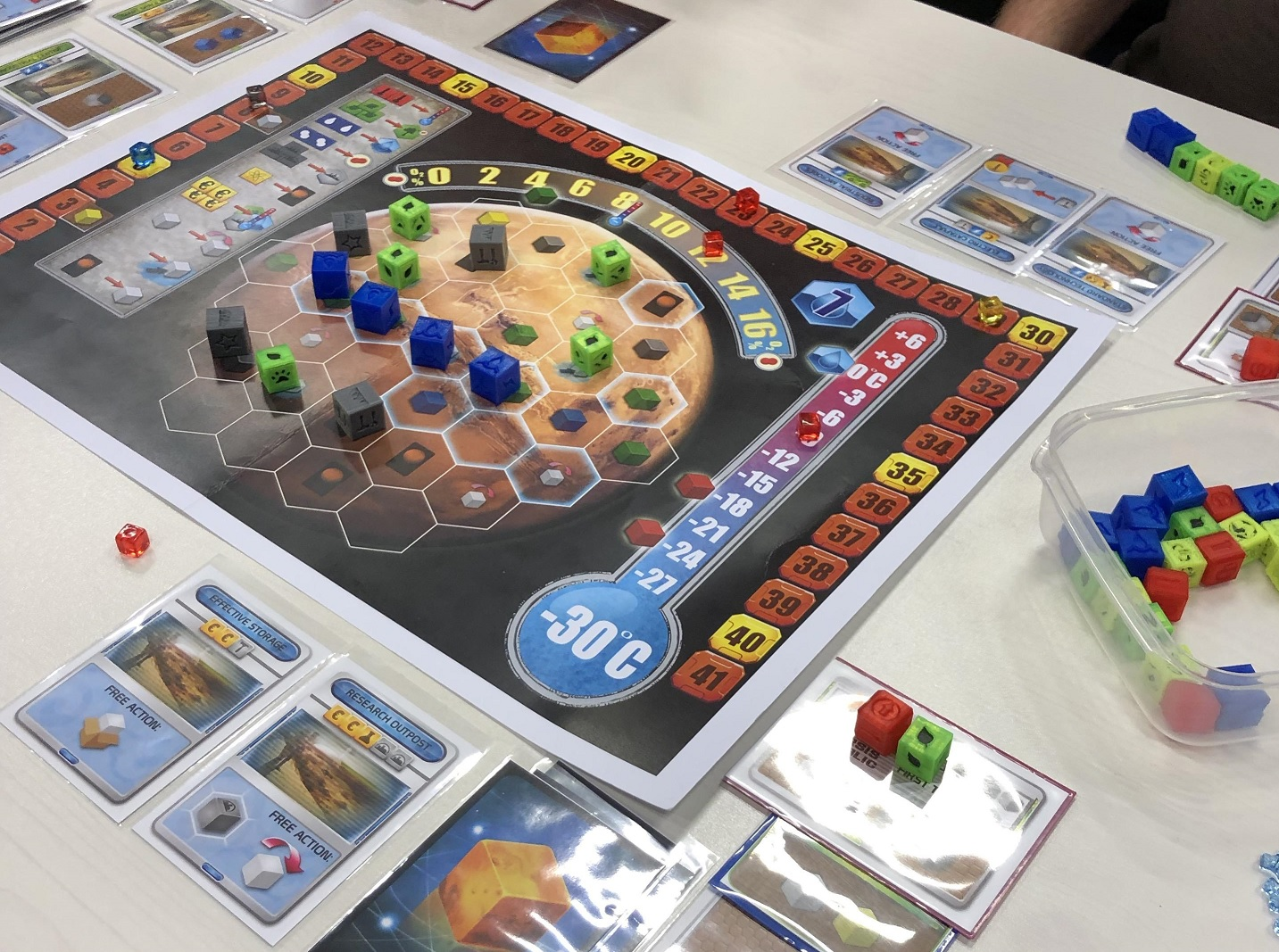 Terraforming Mars the Dice Game prototype components.