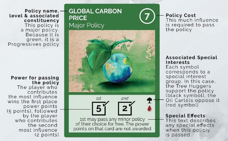 An Corridors of Power policy card.