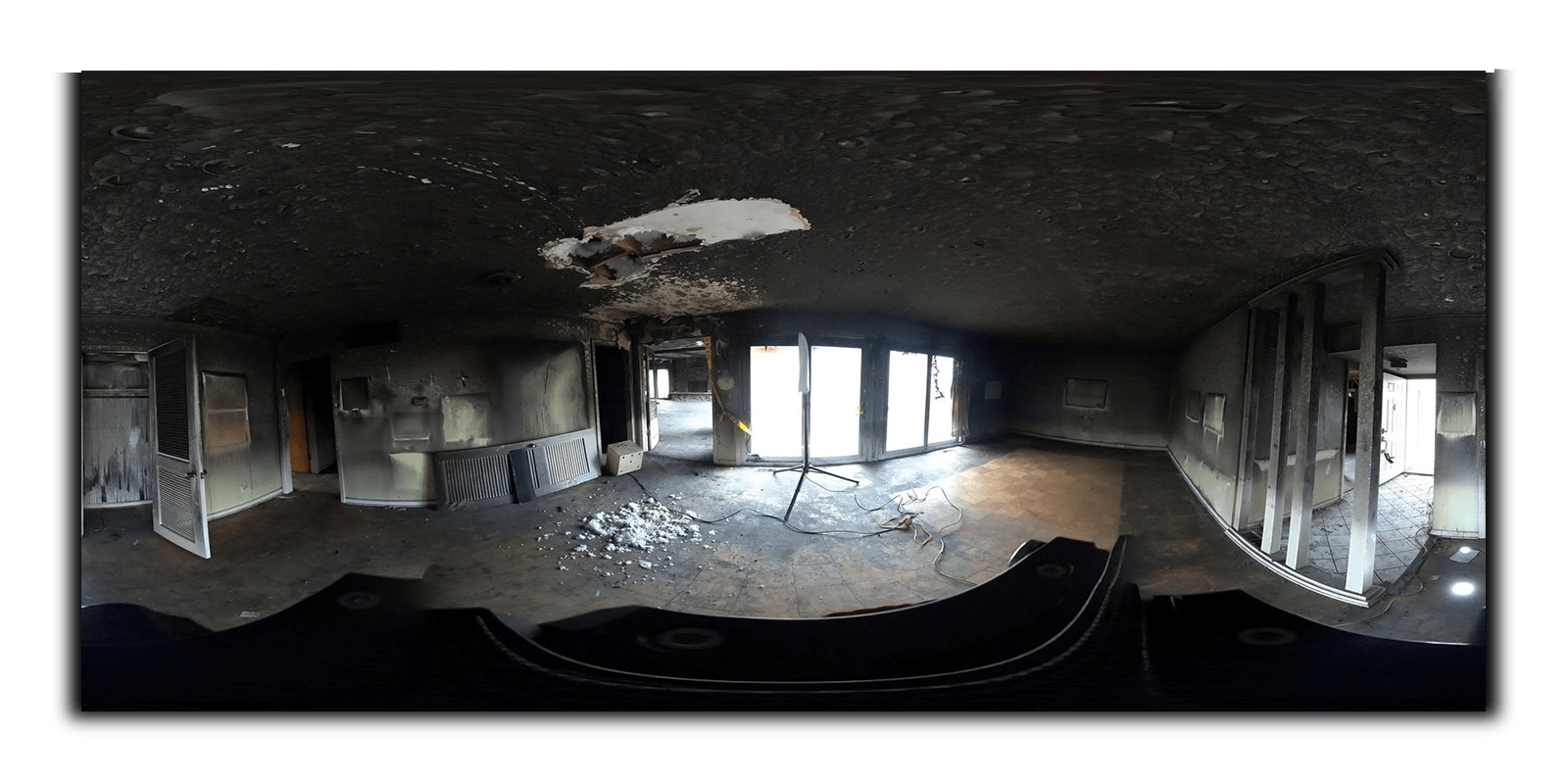 fire damage home 360 photography