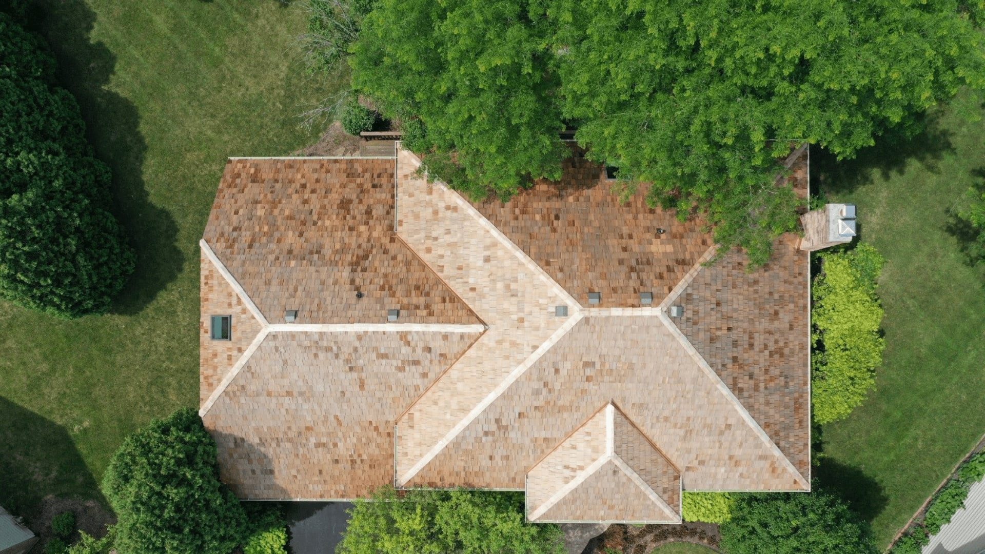 brown roof shingles drone footage