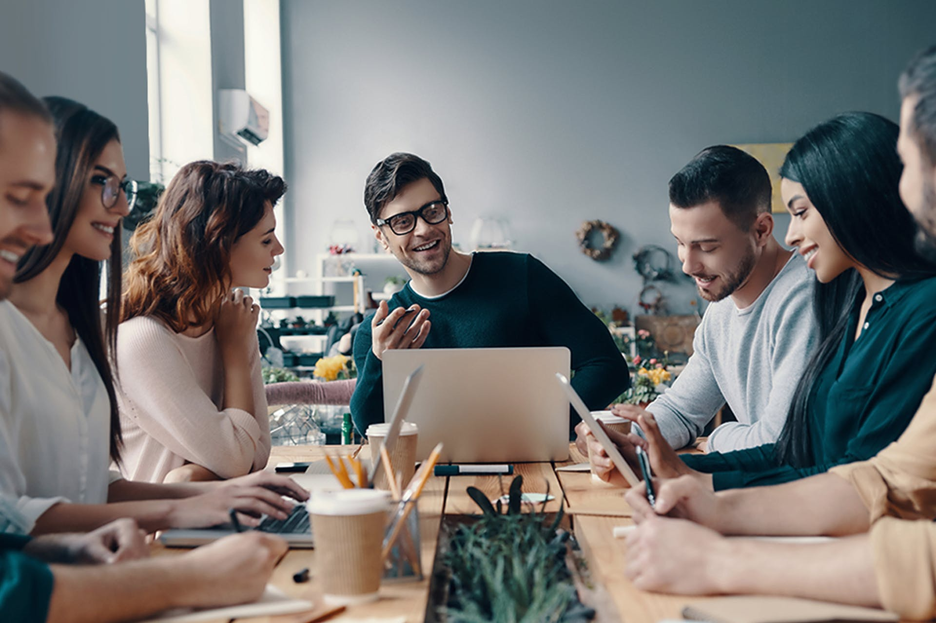 creative digital team having a meeting