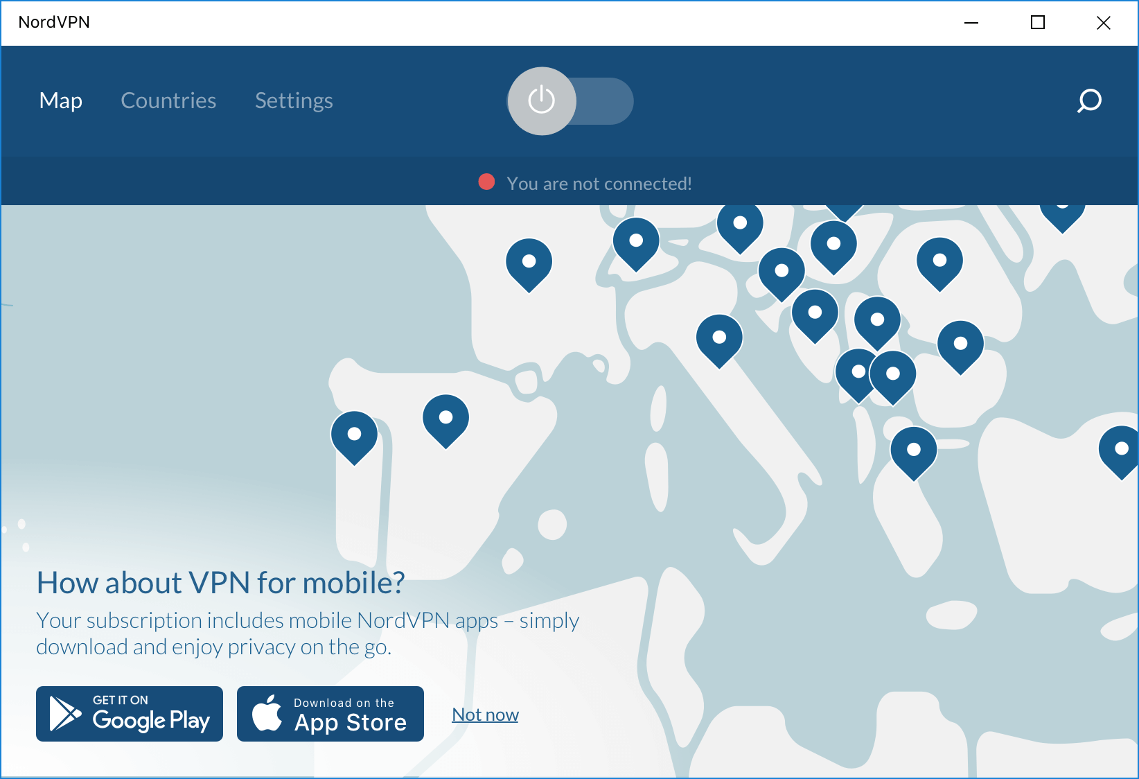 Windows Screenshot of NordVPN App