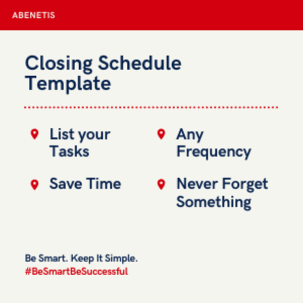 Closing Schedule Template Benefits in a picture