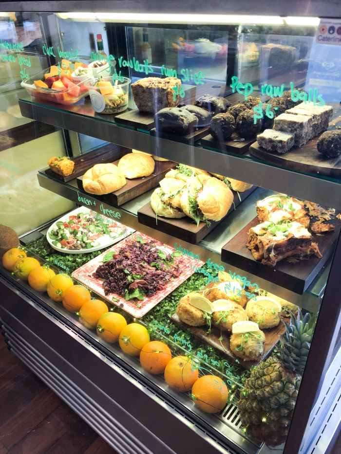 Assortment of vegan goodies on display