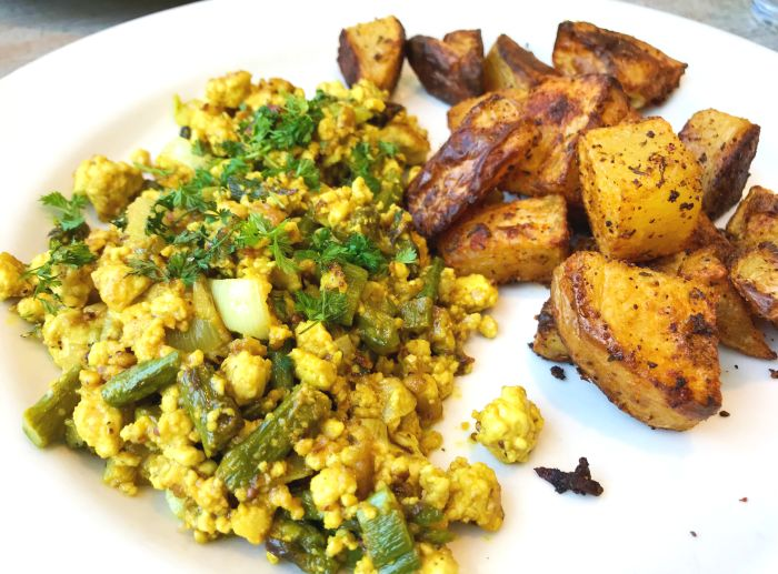 Spring Asparagus Scramble. Available gluten-free and/or vegan.