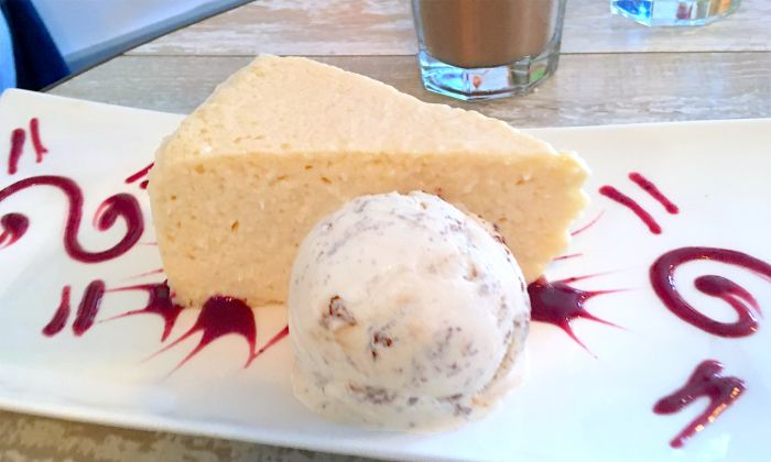 coconut cheesecake with salted caramel ice cream