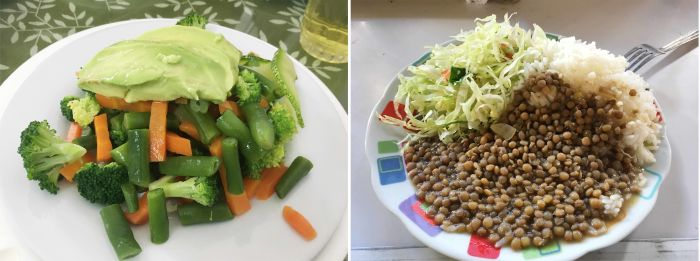 Salad, rice with lentils