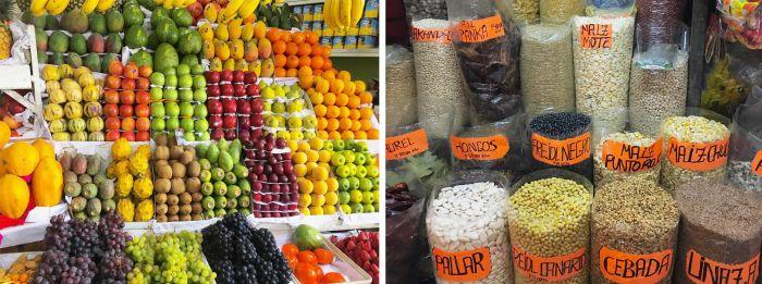 Peru fruits, vegetables, legumes, bread, corn, potatoes and quinoa