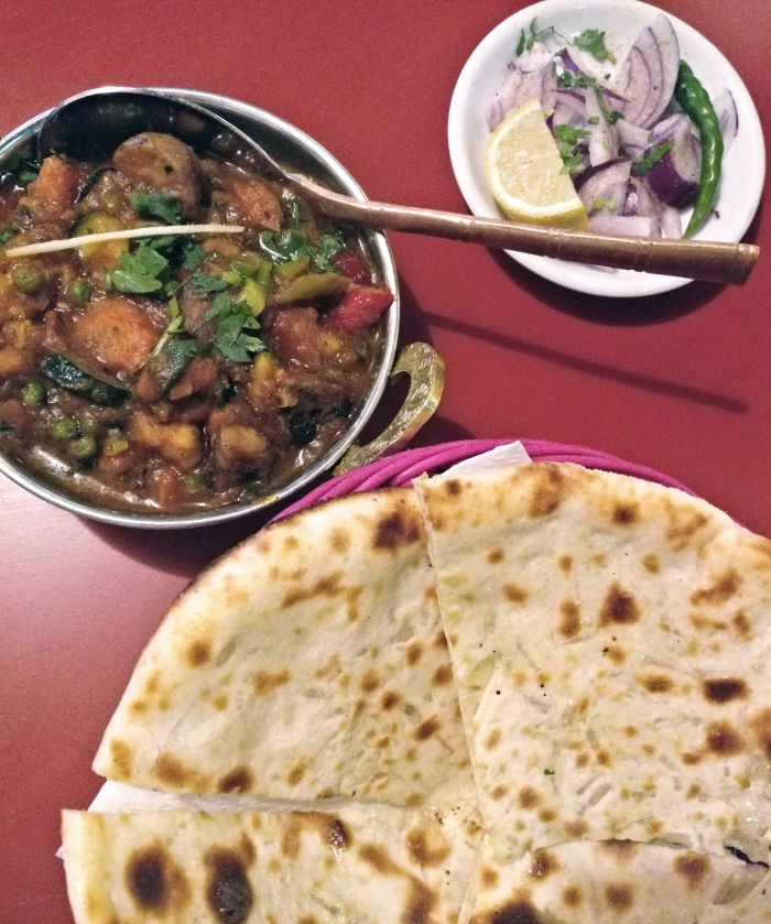 Cheese Naan and Vegetable Jalfrezi at Veg World India