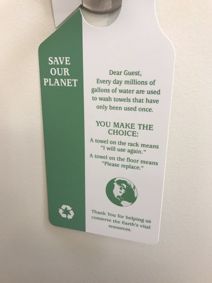 save our planet hotel card