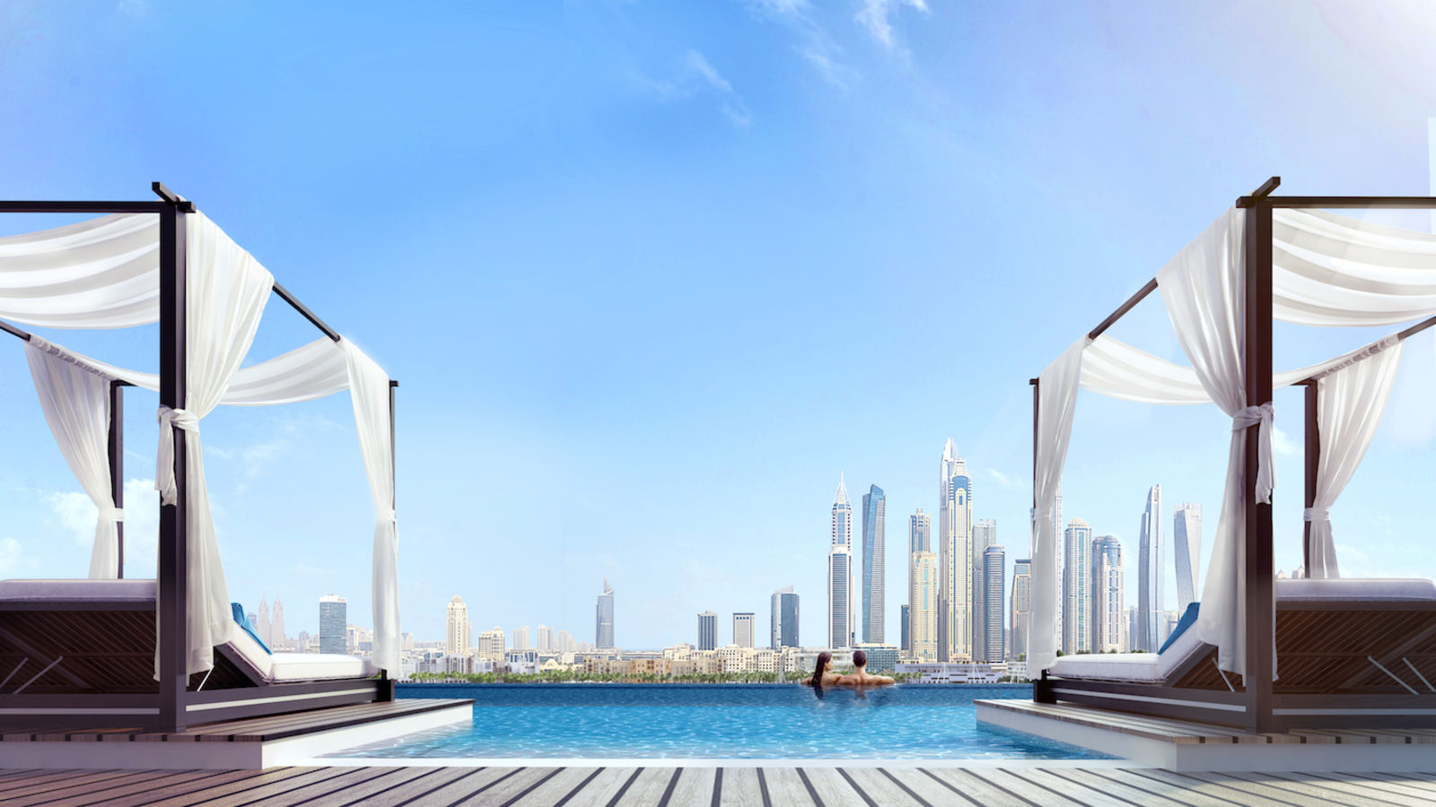 infinity pool at dubai harbour