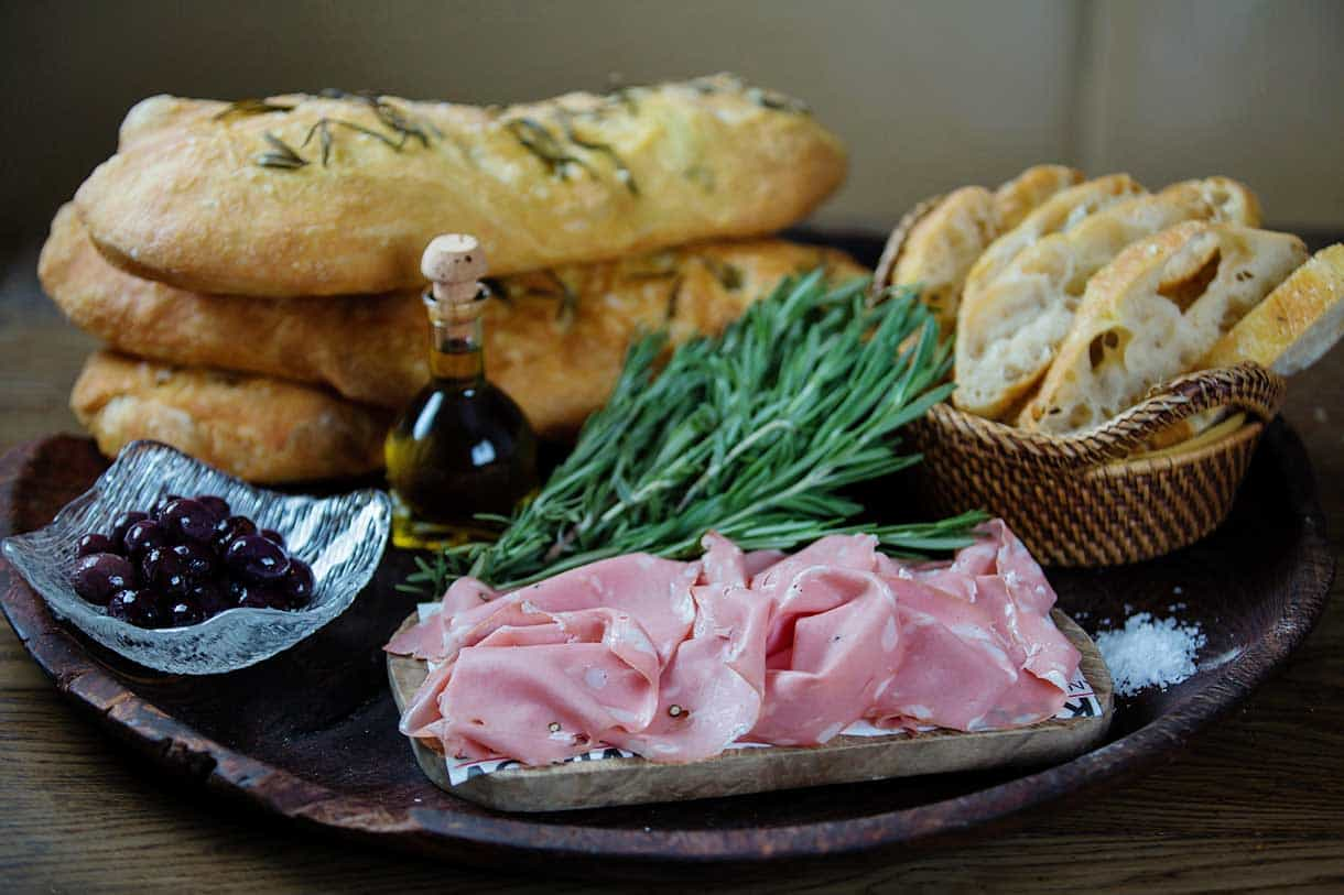 ham with focaccia and olives