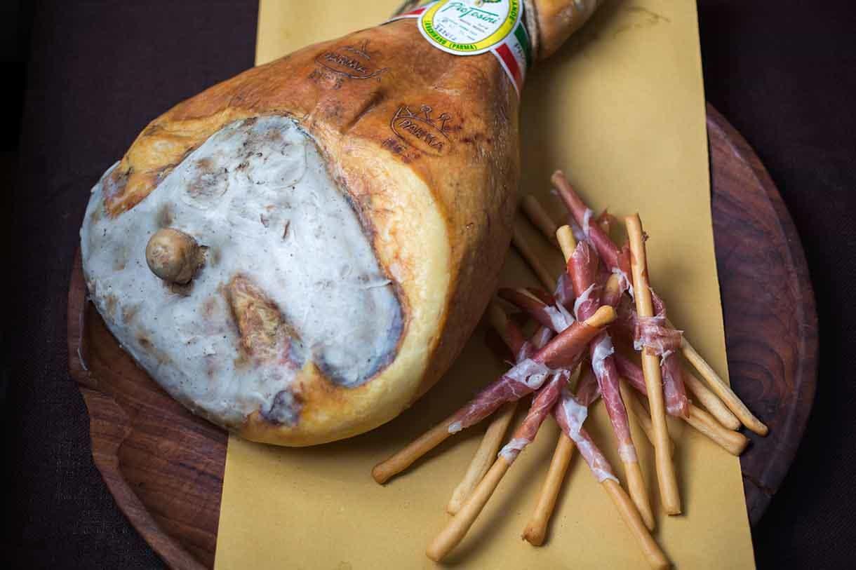 grissini wrapped in prosciutto crudo