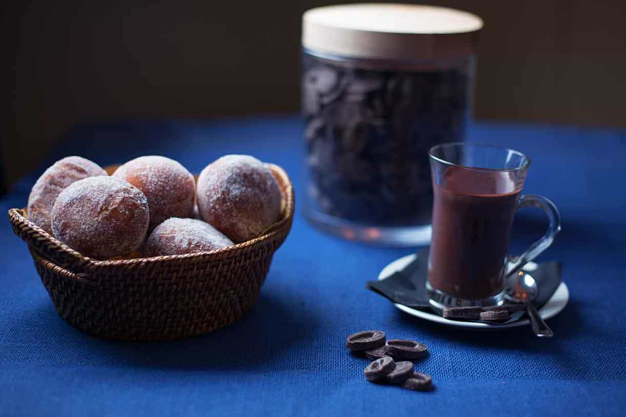 doughnuts with chocolate sauce on a side