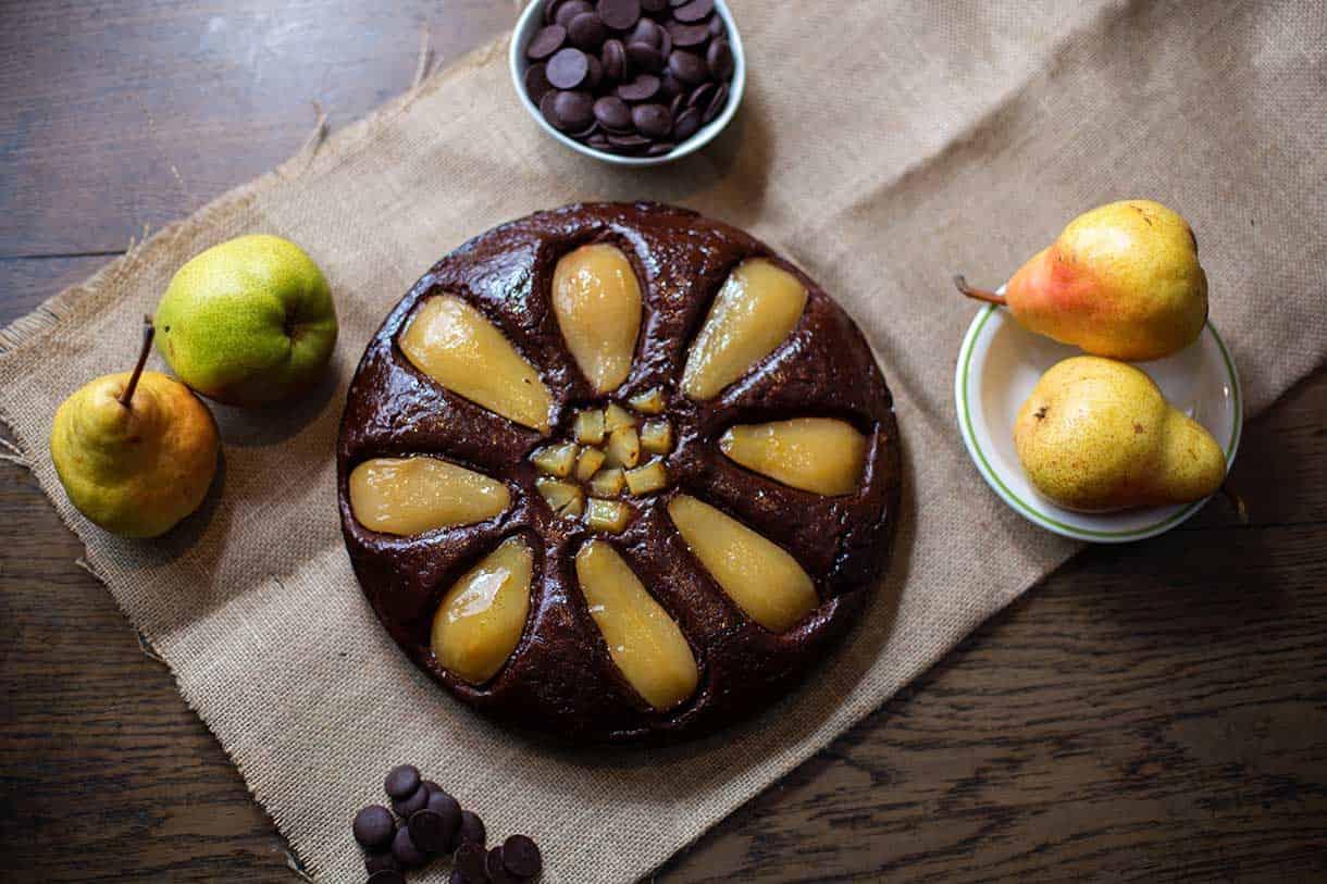 pear and chocolate tart