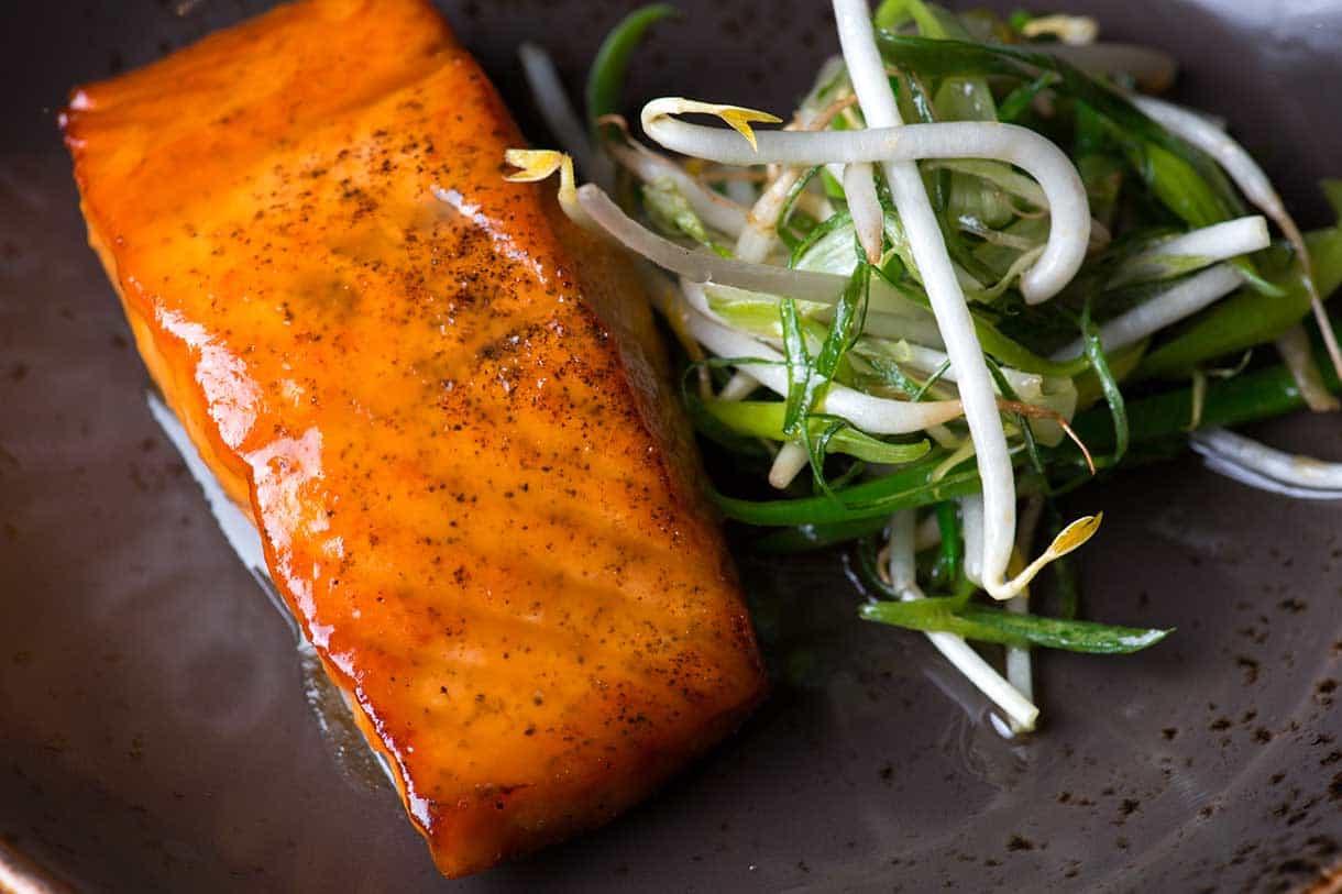 miso glazed salmon with greens