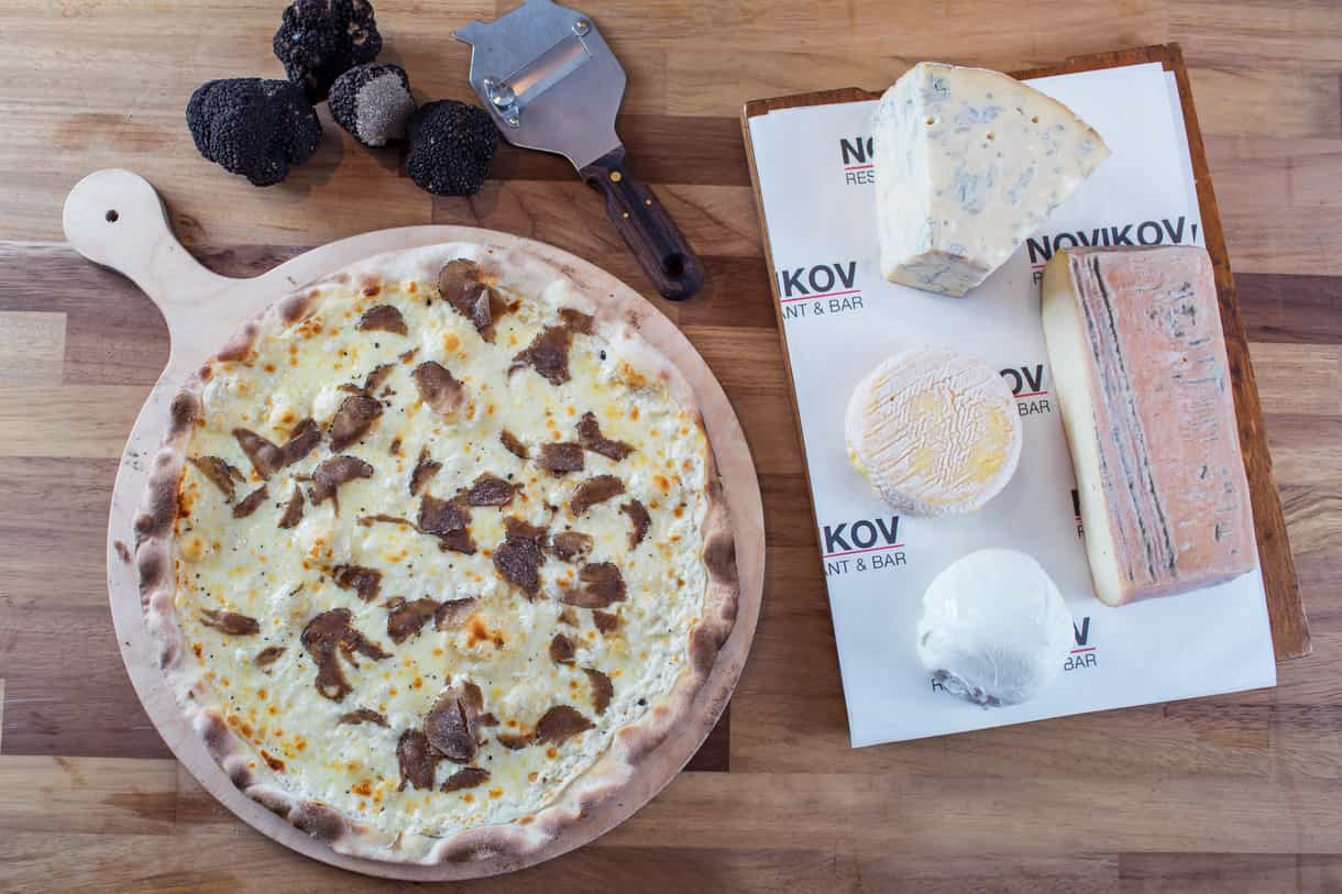 4 cheese and black truffle pizza