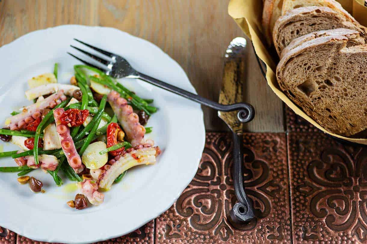 octopus salad with green beans and potatoes