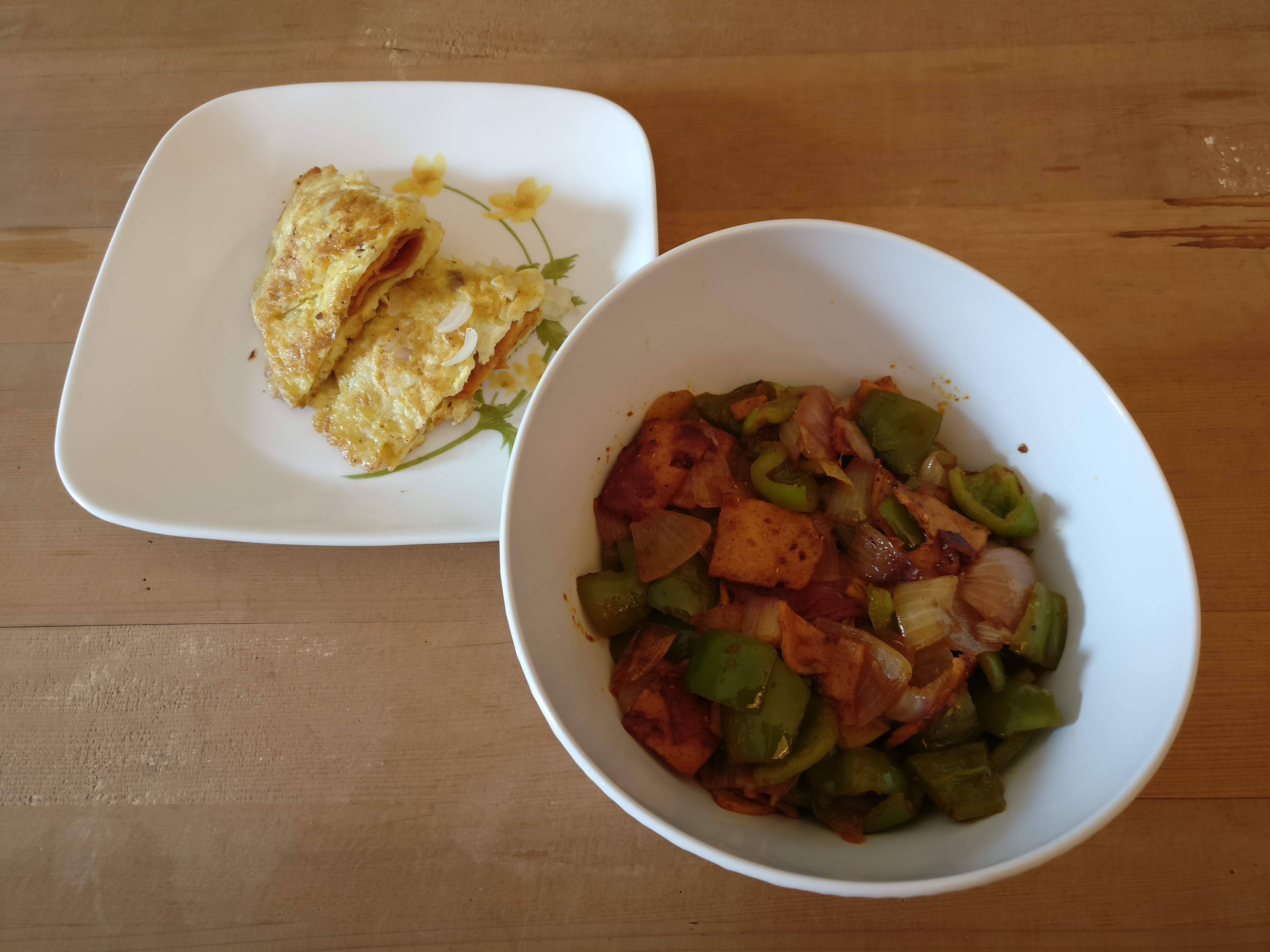 Chicken Salami Capsicum Onion Stir Fry