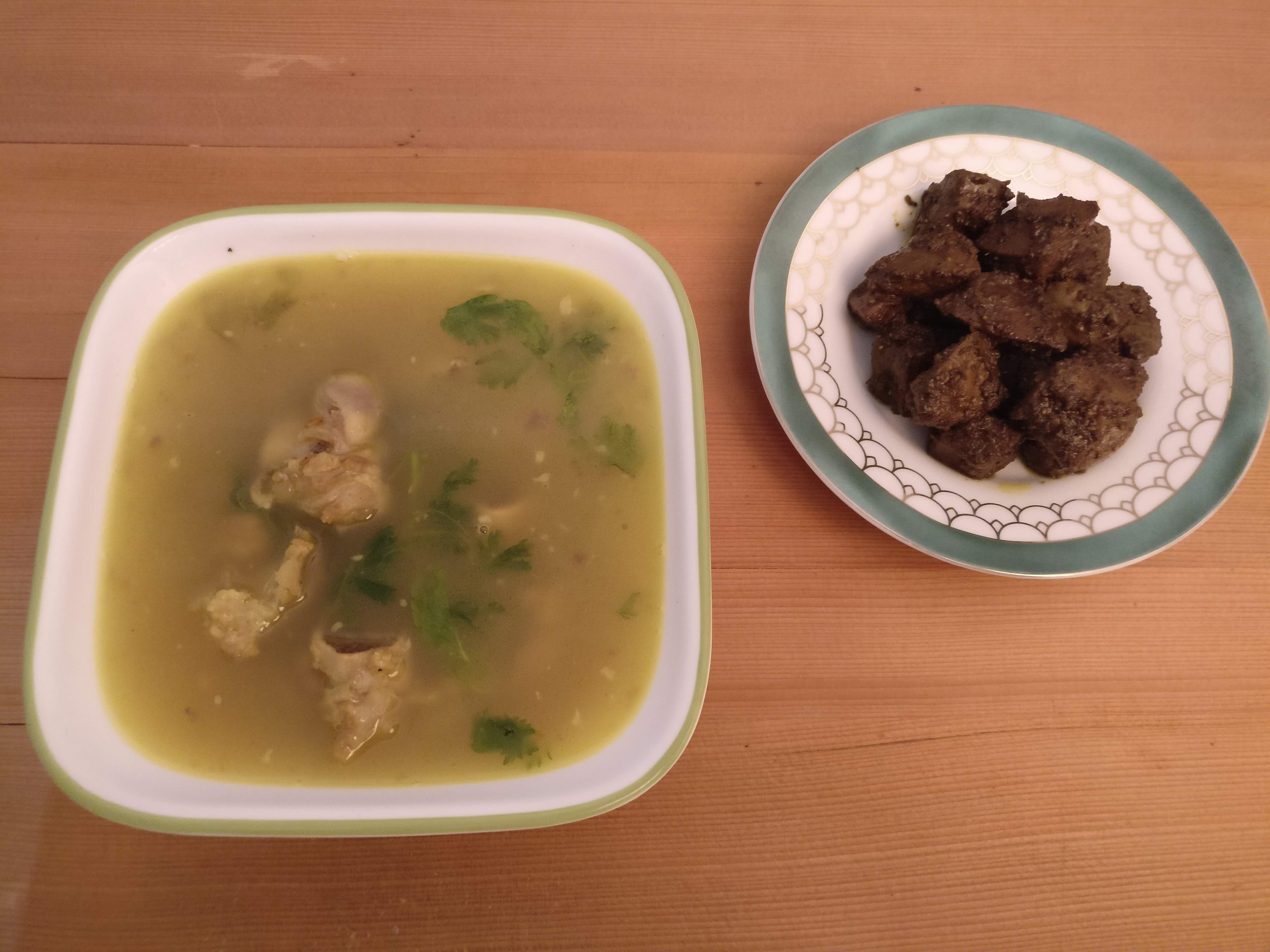 Mutton Bone Soup and Mutton Liver Fry