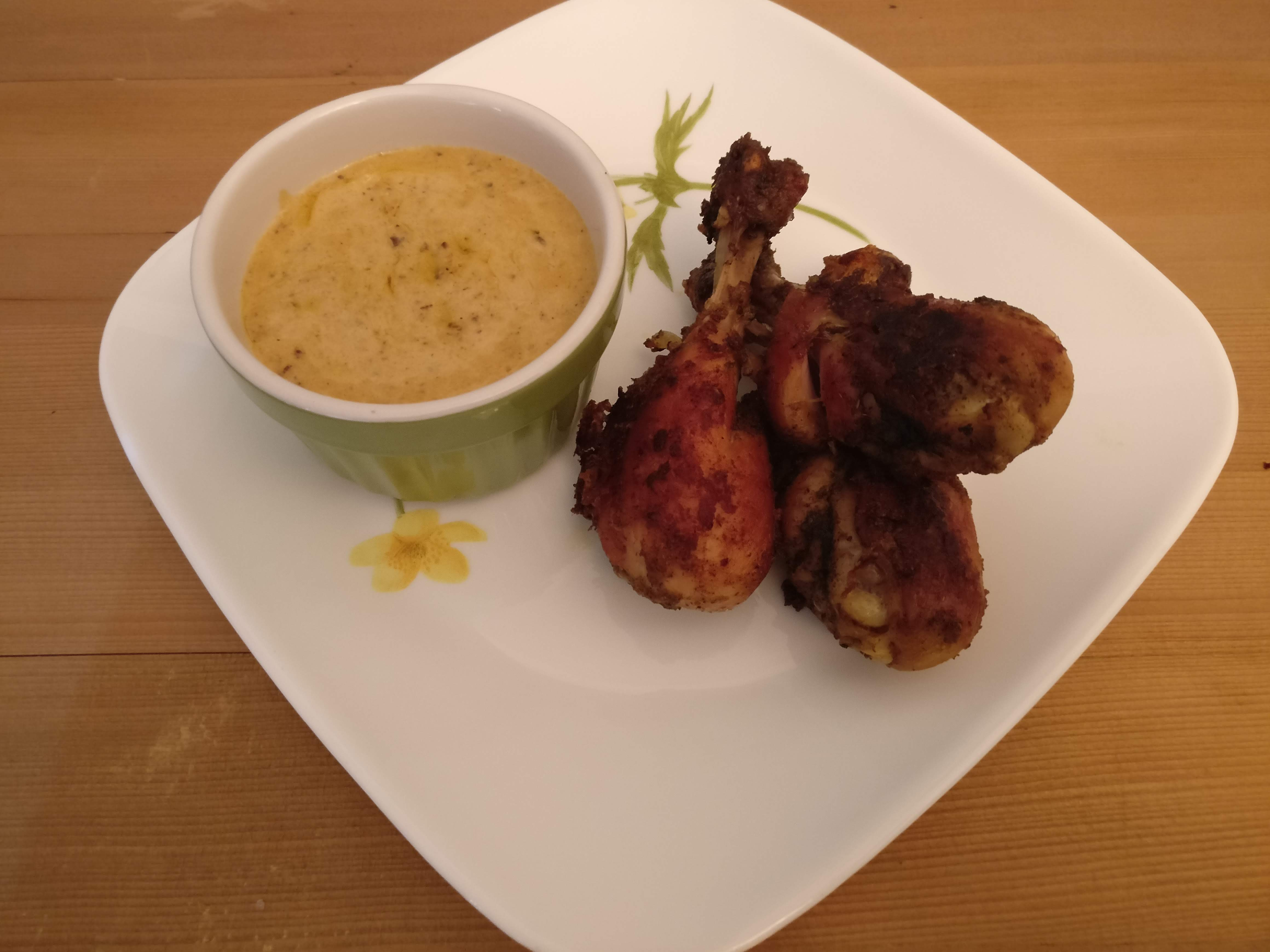 Chicken Drumsticks with Garlic Cheese Sauce