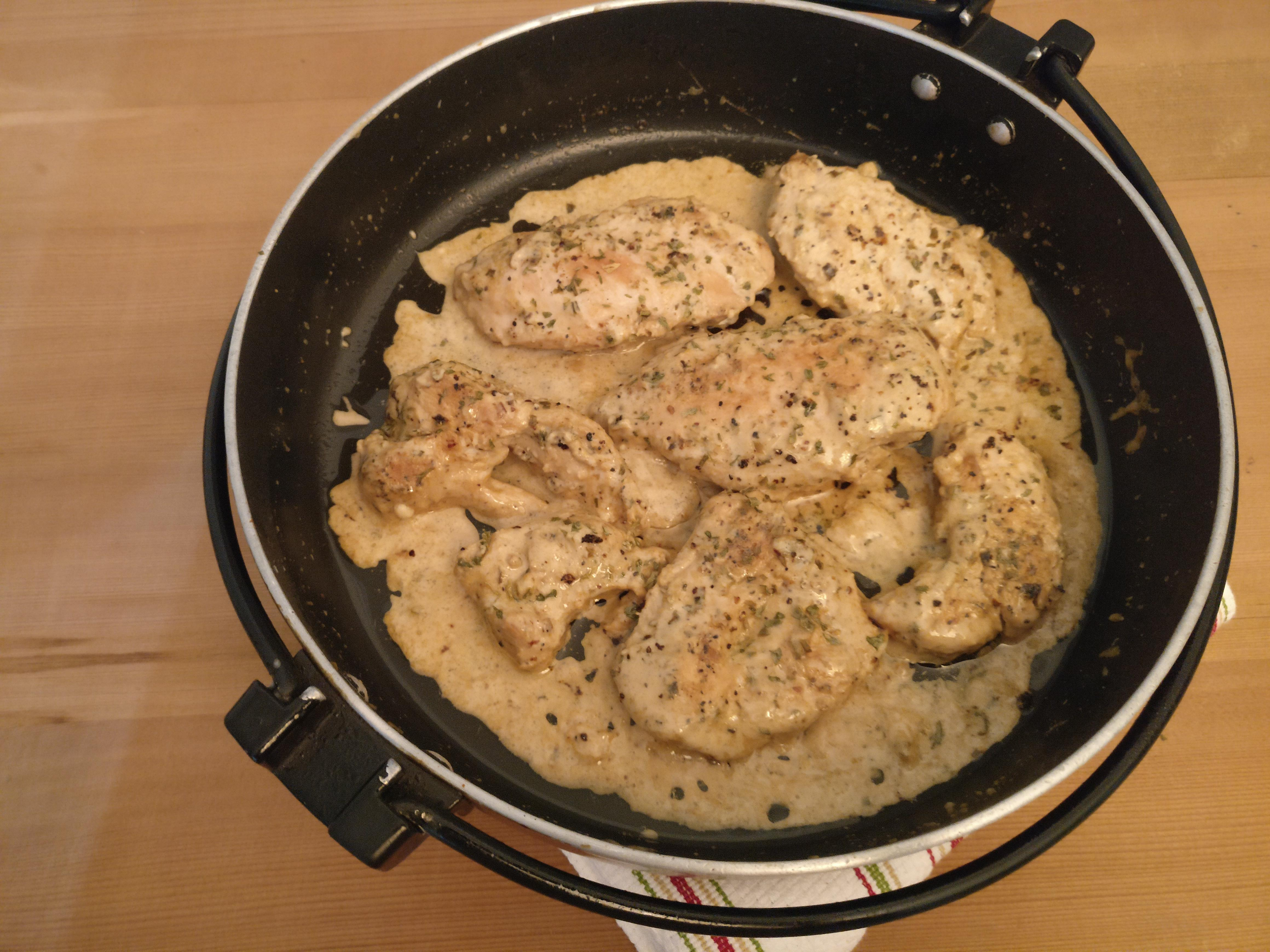 Lemon Pepper Chicken in Cheese Gravy