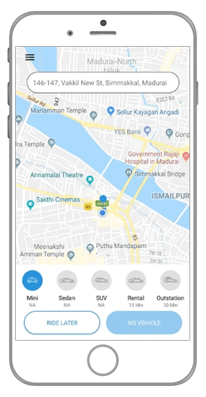 Uber Clone - home screen