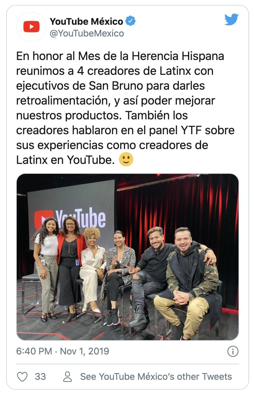 Youtube mexico tweet