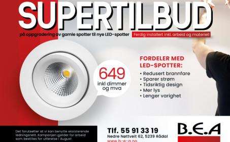 Illus. Bytt halogen spotter til LED for KUN kr. 649,-