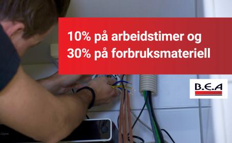 Illus. Bestill elektriker til Januar og spar 30% på materiell. 10% på arbeidstimer