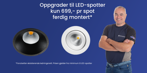Bilde for tjenesten Vi bytter ut dine halogen spotter til LED - Kampanje - KUN kr. 649,-