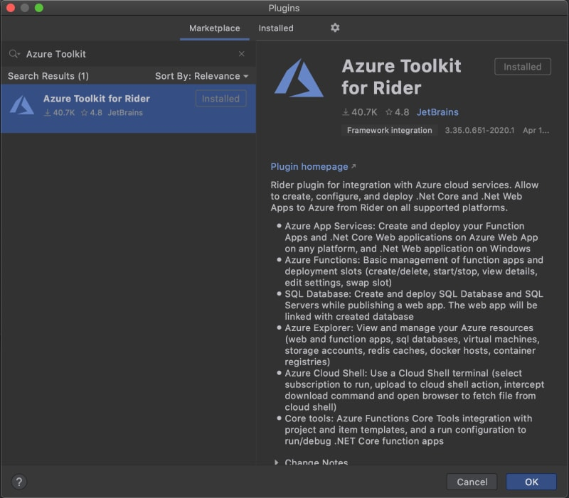azure toolkit install