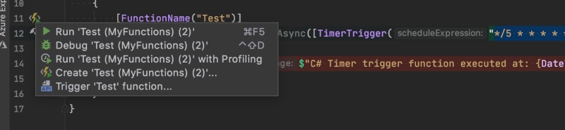 azure functions bolt clicked