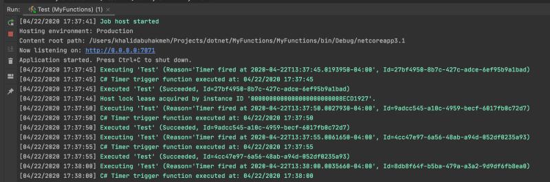 azure functions running in terminal