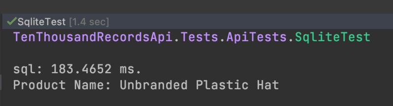 Sqlite test using TestServer