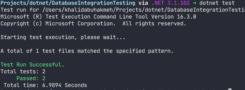 dotnet test run