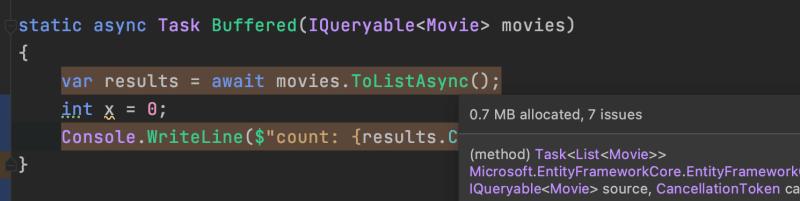ToListAsync SQL Server Streamed