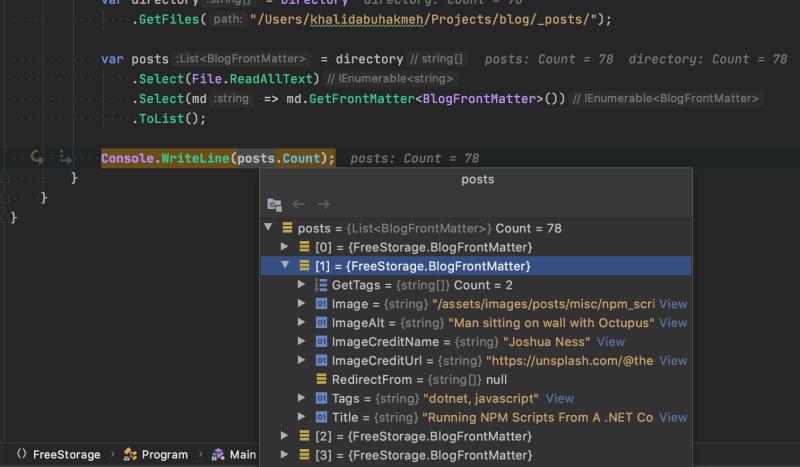 running the code yaml front matter