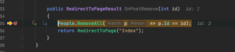 hitting breakpoint from button on page
