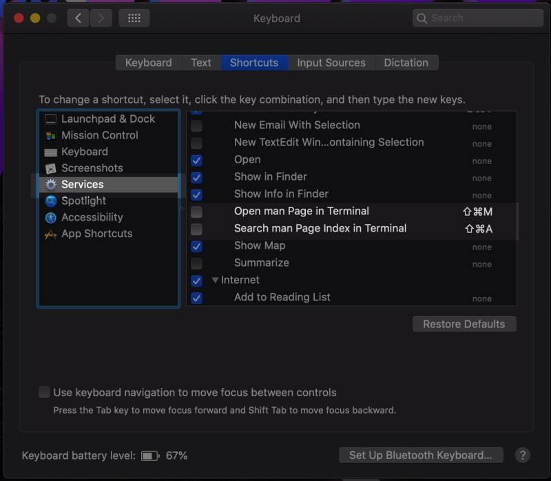 system preferences pane services in terminal