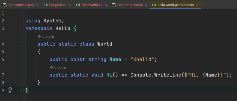 decompiled code in JetBrains Rider