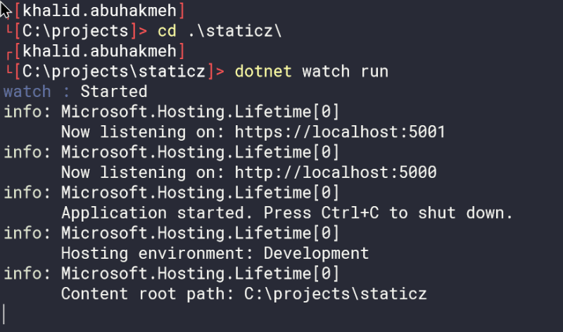 dotnet watch run first time